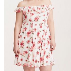 Torrid Pink Rose Print Gauze Off Shoulder Dress